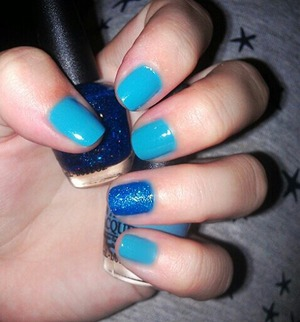 Blue nails with a touch of sparkle! However blue you might feel a little sparkle can always brighten up your day!