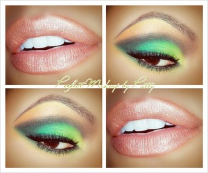 Yellow, shades of green blended in with a darker green contrast on the outer corners. I used a peachy orange shade on the brow bone as a highlight. Lipststick is a peachy gold blend with Paula Dorf 'Mermaid' Lipstick.