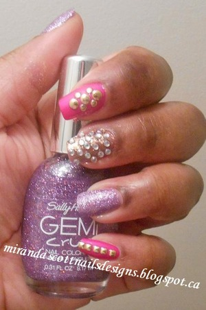 Hello Everyone! Today's manicure I created using China Glaze Purple Panic,Orly Ingenue and Sally Hansen Gem Crush Be-Jeweled. I  used Born Pretty Stores Studs. And also this is my first time using the round shaped rhinestones I purchased from Born Pretty Store.