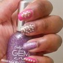 Glitter Rhinestones and Studs Manicure