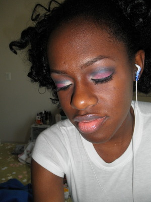 Pink with blue cut crease