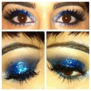 Blue Glitter Smoky Eye