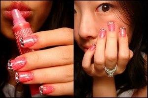 Hot pink glitter w/ rhinestones.
