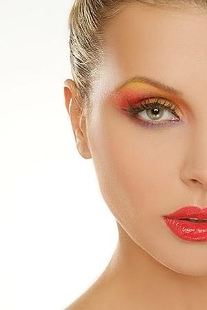 colorful, red eyeshadow, orange eyeshadow, yellow eyeshadow, red glossy lip