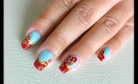 Mint Nails with Red Flower Design