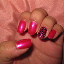 Pink with leopard and diamante accent nail