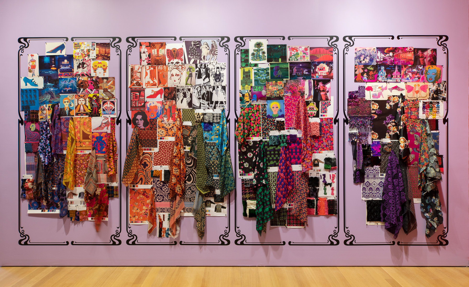 Moodboard installation at The World of Anna Sui at the Museum of Arts and Design, New York | Photo: Jenna Bascom