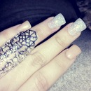 natrual/glitery nails :3