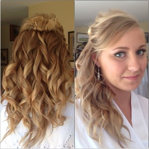 My best friend got married this summer, so for her wedding present I did her hair and makeup as well as bought her clip-in hair extensions.   She is super simple and wanted her hair half-up curled with natural makeup. Her hair is very thin and fine so I bought her clip-ins and guessed on a color that ended up working.   I curled her whole head with a 1 in Hot Tools curling iron.