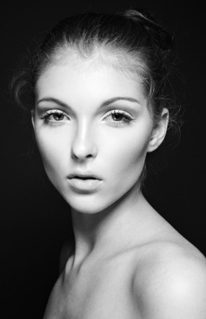 A part of the Story told of Romance. Black and White version of a natural beauty look I created