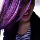 Straightened purple hair