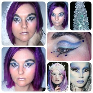 After coloring my hair purple Velen challenge me to do a purple ice queen look :)  I used 2 photos as inspiration, but didn't do a copy of either of them :)