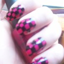 Freehand checkerboard pink and black