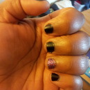 matte black nails with a sparkly nail