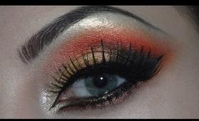 Arabic makeup - golden, red and black eyeshadows