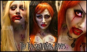 The TransylVAINian Tramps are a trio of seductive bimbos who will suck much more than your neck. They'll drain you dry and leave you feeling STIFF! They might be undead, but they give great hea- yeah.....you get the picture.  (I tried to make the 'vampire bites' resemble hickeys from our youth! xD ganughty ladies, these three are! xD I also used eye dye to make the blood shot effect. It's temp and blinks out. I don't remember the name of it just that I got it around Halloween time! XD I also did some contouring and bam, done and finish....just like your prom night!)