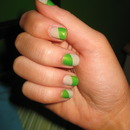 Green & Nude Tape Nails