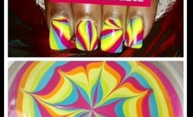 Rainbow Water Marble Nail Art by Dearnatural62