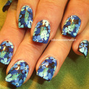Blue Ombre Bouquet Nail Art
