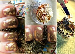 Used: Estée Lauder - Perfect Finish - Ginger, golden nail art foil