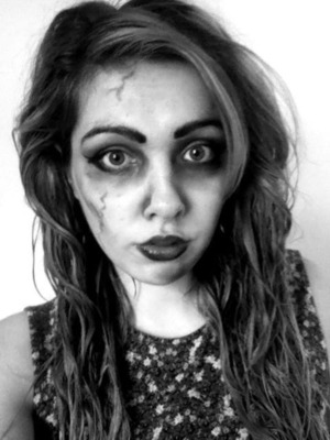 I wanted to create a kind of simple zombie look that people could use if they were running late for a Halloween party!