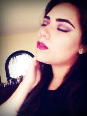 purple and burgundy crease using tigi makeup