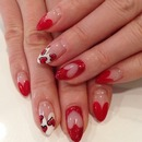 Love these love heart nails natural tip