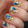 Retro-style square print nails
