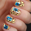 Retro-style square print nails