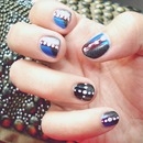 Metallic, dots and blue nails.