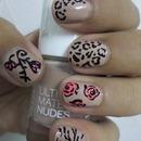 Floral, leopard & zebra print nude nails 💞