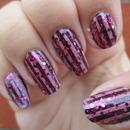Striped glitter mani