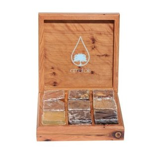 Amal Oils Limited Edition Cedar Wood Artisanal Box with 9 Soap Sampler