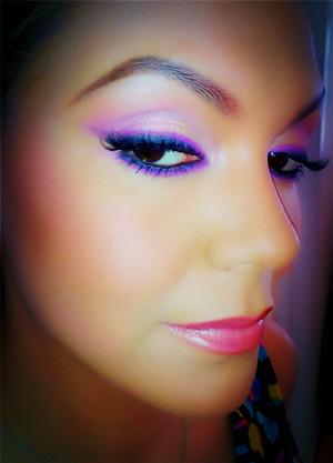 Nyx Jumbo Purple Pencil on eyes, Rimmel Pink Nude lipstick.
