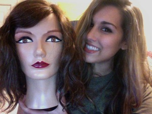 meet Gladys, my lovely mannequin head from cosmetology school. (very little makeup on me in this picture)