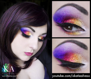 Tutorial! https://www.youtube.com/watch?v=2Z2xa3rwlNA  Holy crap so many sparkles! If you're in need of a glittery look, here's a super glittery one for you!   I couldn't see a thing while doing this tutorial. I had the mirror further away to allow for a more normal camera angle. Wow, the entire time you can see me squinting. I had to stop after every step to look to see what the heck I had done! haha!