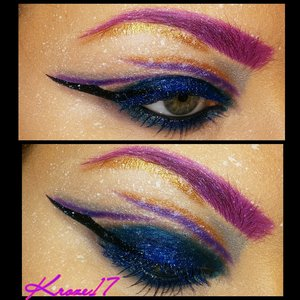 Today's look was not planned at all. I knew I wanted to do a broken cut crease and some splatter.  I definitely want and need a better camera to really show the details,  maybe for Christmas!   Products used:  Nyx Fair Concealer  Rimmel Powder Lorac Pro Palettes (1&2) Urban Decay Electric Palette  Nyx Extreme Blue Liner  Physicians Formula Liquid Liner  Nyx Blue Mascara  Smashbox Blue Liner  Nyx Black Bean Pencil  Urban Decay Primer Potion  Occ Hoochie Pencil  White Wolfe Paint  #Creativemakeup #occ #Nyx #Lorac #Urbandecay #colorful #beauty #beautyshot #beautyproducts #cosmetics #makeup #makeuplook #makeuptrends #instabeauty #instamakeup #interestingmakeup #Kroze17