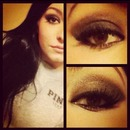 Gold brown and black smokey eye, nude lips