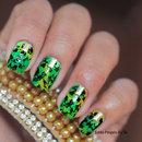 Nail Carimbada Verde e Amarelo