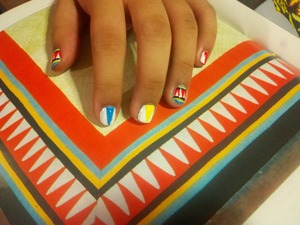 Nail art on a friend straight out of a book of traditional Filipino patterns.
