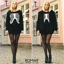 Skeleton Print Black Hoodie