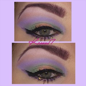 """Pastel Punk! I'm not one who follows """"season""""  rules and only wear dark lipstick in the fall, so this look is an any time look for me. Pastels with a bit of glam and edge. I used: Glamourdolleyes shadows in Jolie, Silhouette, and Juicy Mango.  NYX Candy Liner in Lavender.  #Glamourdolleyes #GDE #nyxcosmetics #candyLiners #pastels #pastelpunk #girly #makeup #fun #beautyproducts #cosmetics #Beautyshot #makeuplook #love #instamakeup #instabeauty #kroze17"""