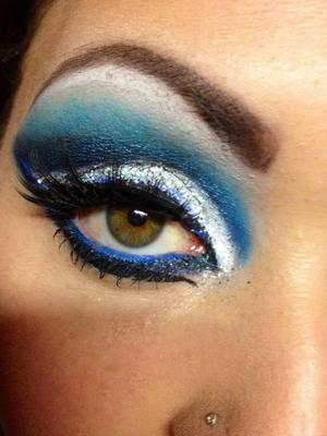 electric blue and glitter cut rease look
