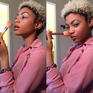 natural sheer/blush face and the blonde curly fro... yep that's me! @2medallions