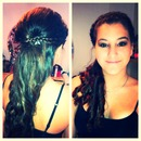 French braid, curls, & smokey eye