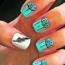 Feather & blue nails