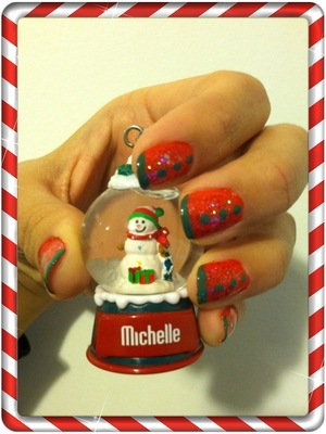 Quickest Christmas nails. Just need red & glitter nail polish, Green polish pen; Make a line at the  tips of your nails with the green pen & three green dots. Or you can leave the dots out & have a Christmas french manicure