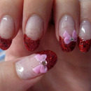 Glitter tip bow nails