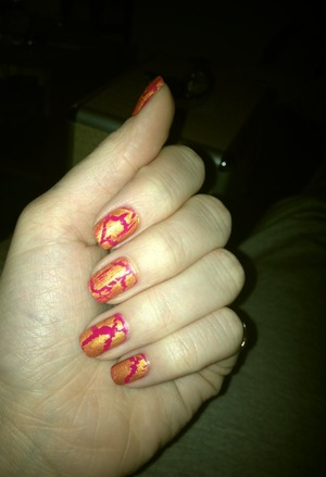 Pink & Gold cracked nails.   Orly - Nail Lacquer in Purple Crush W7 - Crackle Nail Polish in Earthquake Gold  O.P.I - Top Coat