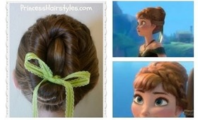 Frozen Hairstyles, Anna Coronation Bun, Disney Inspired